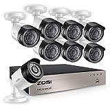 ZOSI 8CH 1080P Kit Vidéo Surveillance Enregistreur Numérique TVI avec 8pcs Caméra Surveillance Extérieure 2,0MP Vision Nocturne 20m, Accès à Distance Via Smartphone, sans Disque Dur