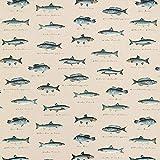 Dekostoff Halbpanama Fische – natur/blau — Meterware ab 0,5m — STANDARD 100 by OEKO-TEX® Produktklasse II — zum Nähen von Kissen/Tagesdecken, Tischdecken & Tischläufer