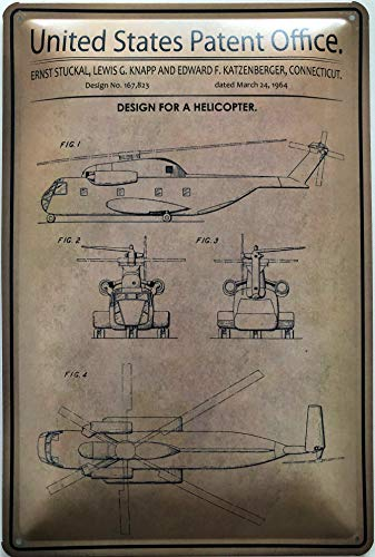 Deko7 metalen bord 30 x 20 cm United States Patent Office - Design for a Helicopter 1964