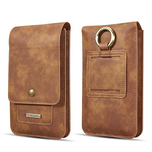 Universal Phone Belt Holster Case Vertical Waist Pack Bag, DG.MING Luxury Vintage Leather Multiple Cards Holder Wallet Men Carrying Sleeve Pouch for iPhone 11 Pro Max 6.5 inch (Brown)