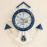 Reloj de Pared mediterráneo del timonel/Reloj de Pared Creativo Decorativo Simple de la Pared