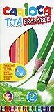 Carioca Tita Erasable - Caja de 12 lápices con goma de borrar, multicolor