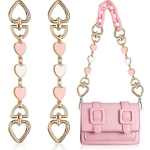 2 Pieces Bag Strap Extender Heart Shape Chain Strap Extender Replacement Bag Chain Straps Bag Charm for Shoulder Cross-Body Purse Clutch Handbag Bag Chain Accessory Charms Supplies