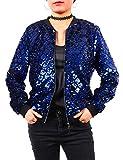 Women Party Coats Sequin Jacket Bomber Clubwear Lightweight Blazer for Casual Ladies Plaid Outwear Women Long Sleeve Zipper Jacket Fall Winter Christmas Halloween New Year royal blue Size XL