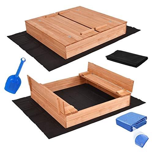 Sandkasten mit Deckel Sandbox Imprägniert 120x120 150x150 Sandkiste mit Sitzbänken Holz Spielzeug (120 x 120 cm)