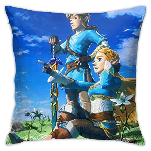 hongze Art Painting The Legend of Zelda Throw Pillow Covers Pillow Case Modern Cushion Cover Square Pillowcase Decoration-for Sofa Bed Chair Car 18 X 18 Inch Double-Sided Printing