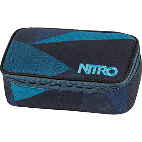 Nitro Pencil Case XL inkl. Geo Dreieick & Stundenplan, Federmäppchen, Schlampermäppchen, Faulenzer Box, Federmappe, Stifte Etui,  Fragments Blue