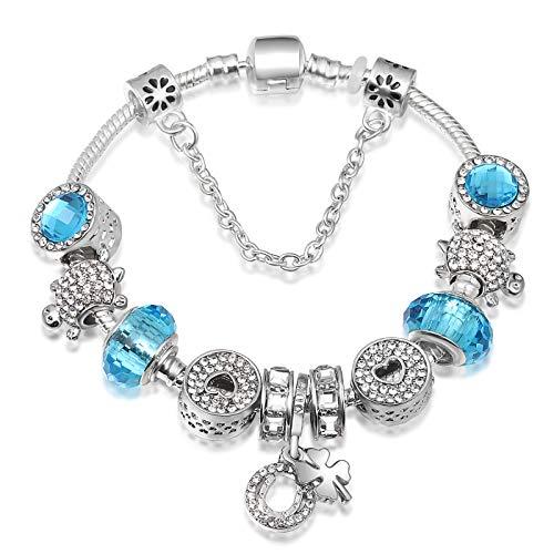 A TE® Armband Charms Blau Kristall Beads Herz Eule Damen Geschenk #JW-B36-155 (B36)