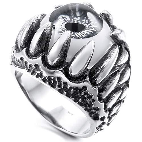 MunkiMix Edelstahl Ring Silber Ton Schwarz Grau Weiß Totenkopf Schädel Drachen Klaue Böse Evil Teufel Eye Auge Größe 65 (20.7) Herren