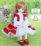 HWOEK Chica En Falda Roja 1/6 Muñeca, 3 Colores De Ojos Intercambiables, 10 Pulgadas Muñeca Articulación Esférica, Pueden Cambiar Maquillaje Y Vestido De Muñecas DIY,Normalskin