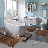 Varbucamp 3 Pieces Bathroom Rug Set, Non Slip Chenille Bath Mat Rug for Bathroom Shower Tub, Brown