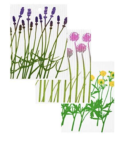 Kattinatt Swedish Dishcloth Wild Flowers (Lavender, Chives, Yellow Flowers) 3 Pack Wash Towels 7.5' x 8'