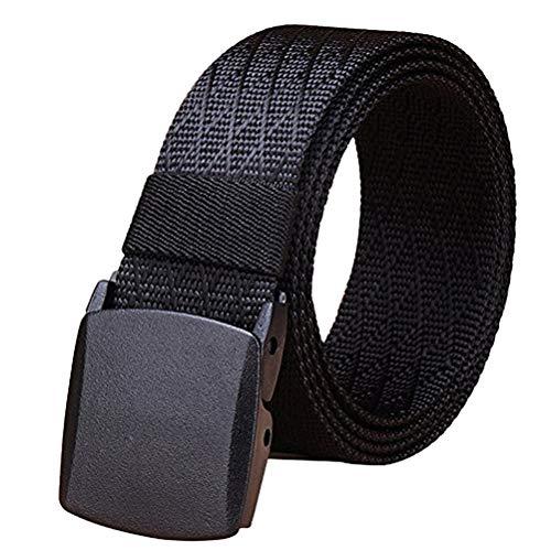 Fairwin Men's Military Tactical Web Belt, Nylon Canvas Webbing YKK plastic Buckle Belt(Black-B)