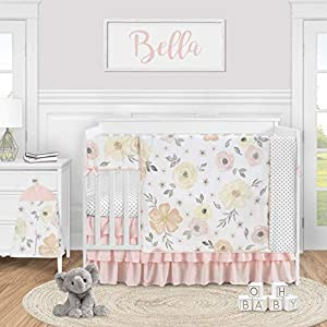 Sweet Jojo Designs Yellow and Pink Watercolor Floral Baby Girl Nursery Crib Bedding Set – 5 Pieces – Blush Peach Orange Cream Grey and White Shabby Chic Rose Flower Farmhouse Polka Dot