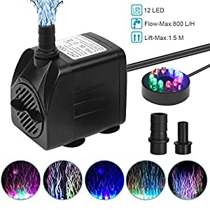 Flintronic Mini Bomba de Agua Sumergible, 12 LED Luces con 4 Colores Cambiantes Y 2 Boquillas, 15W/1.5m Bomba de Acuario…