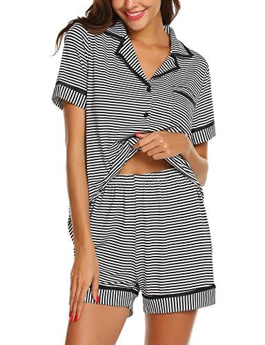 Schlafanzug Damen Kurzarm Gestreift Pyjama Set Sleepwear Zweiteilige Baumwolle Shorty Nachtwäsche mit Knöpfen für Sommer -XL