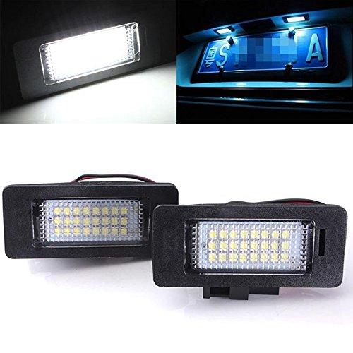 TUINCYN Lampe de plaque d'immatriculation 3528 24SMD LED universellement utilisée pour le feu de route à assembler blanc pour Audi A4 5 A4 (Pack de 2)