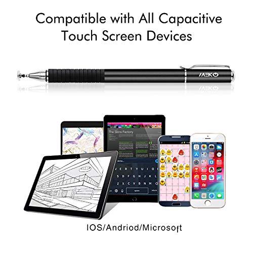MEKO 2 in 1 Kapazitive Precision Disc Eingabestifte für alle Touch-Screen-Smartphones & Tablets (Dunkles Schwarz)