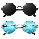 CGID E01 Gafas de Sol Polarizadas para Hombres y Mujeres Pack 2 Estilo Lennon Círculo Metálico Redondas