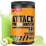 Body Attack PRE ATACK 3.1, Manzana verde, 600g Polvo, Pre Workout Booster Extreme con Creatina y beta alanina