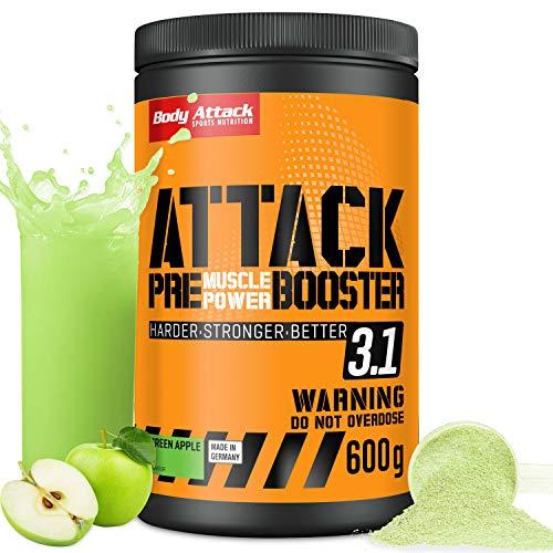 Body Attack PRE ATTACK 3.1 - Pre workout booster Extreme avec de la créatine et de la bêta alanine - Booster de pré-entraînement pour musculation et fitness - 600g de poudre Pomme verte