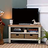 The Furniture Outlet Salisbury Ivory Painted Oak Corner Tv Unit with Baskets