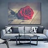 N / A Toile Mur Art Peinture Moderne sans Cadre Photo Affiche Rouge Rose Fleur Salon Décoration sans Cadre Peinture 40 cm x 80 cm