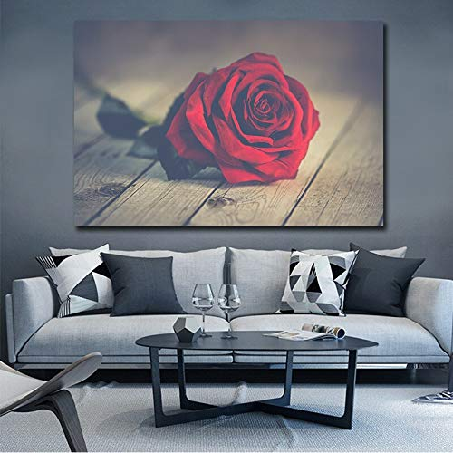 N / A Leinwand wandkunst malerei Moderne rahmenlose Bild Poster rote Rose Blume Wohnzimmer Dekoration rahmenlose malerei 30 cm x 60 cm