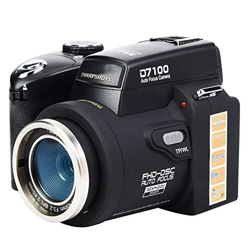 Cámara réflex digital digital D7300 33MP FHD Pantalla LCD TFT de 3.0 pulgadas Cámara de videocámara con zoom digital de 8X con lente gran angular + lente teleobjetivo 24X + reflector LED + trípode