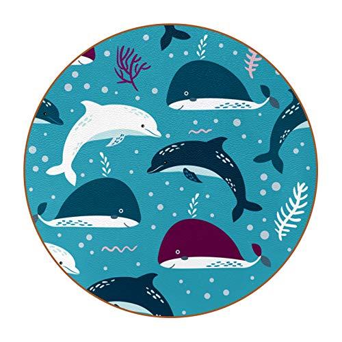 Bennigiry Ocean Whale Dolphin - Juego de 6 posavasos de piel redonda resistente al calor