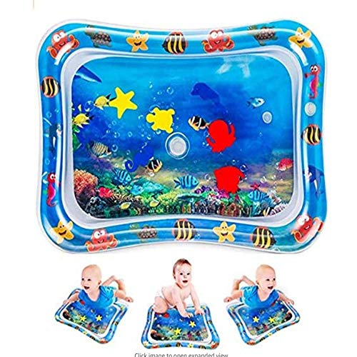 Tummy Time baby vatten lekmatta för baby tidig utveckling för ditt barns stimuleringstillväxt, uppblåsbara perfekta sensoriska leksaker för 3/6/9 månader barn och spädbarn (66 x 50, blå bläckfisk)