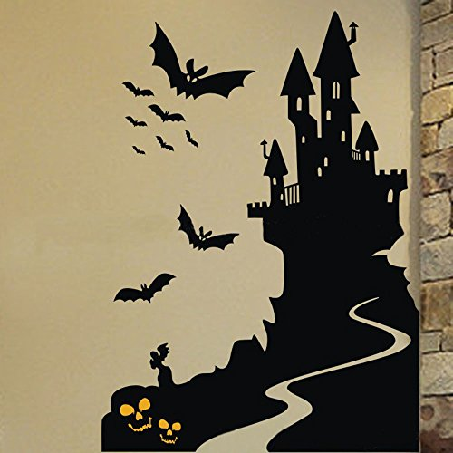 DNVEN 16 inches x 22 inches Halloween Spooky Cemetery Skeleton Skull Crow Bats Ancient Castle Wall Decals Window Stickers Halloween Decorations for Kids Rooms Nursery Halloween Party