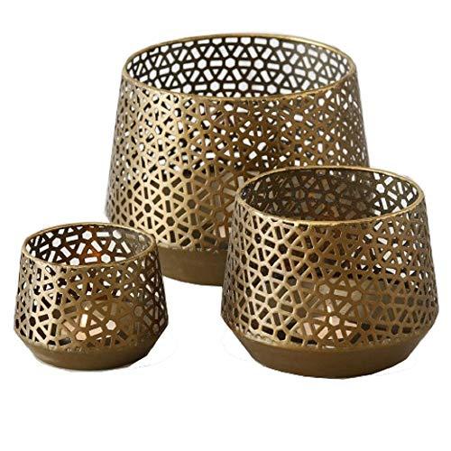 CasaJame Metall Leuchter Kerzenleuchter Windlichter Teelichthalter 3er Set Sortiert Gold H7-13cm D10-18cm