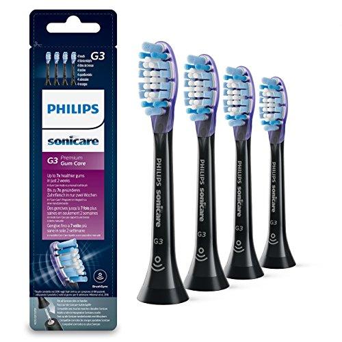 Philips Sonicare HX9054/33 Pack da 4 Testine di Ricambio G3 Premium Gum Care, con RFID e Tecnologia Adaptive, Per Gengive Sane, Nero