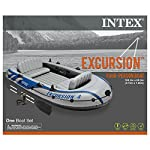Intex Excursion Inflatable Boat Series 7 3 air chambers including an auxiliary air chamber in hull for extra buoyancy Boston valve on two main hull chambers for quick-fill & fast-deflate. All around grab line Inflatable I Beam floor for comfort and rigidity. Has 2 welded oar locks on each side