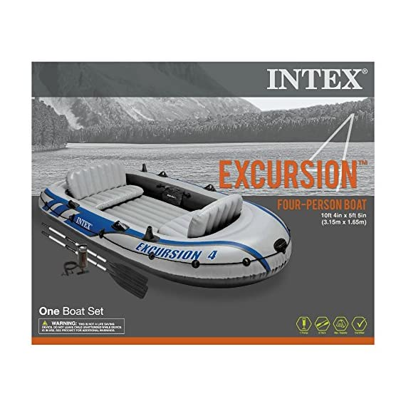 Intex Excursion Inflatable Boat Series 3 3 air chambers including an auxiliary air chamber in hull for extra buoyancy Boston valve on two main hull chambers for quick-fill & fast-deflate. All around grab line Inflatable I Beam floor for comfort and rigidity. Has 2 welded oar locks on each side