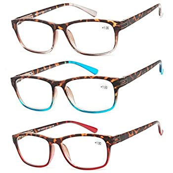 Success Eyewear Reading Glasses 3 Pair Great Value Stylish Readers Fashion Men and Women Glasses for Reading +3.5 Set of Havana Clear Havana Red Havana Blue 51 mm
