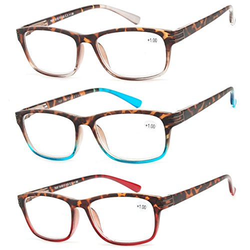 Reading Glasses 3 Pair Great Value Stylish Readers Fashion Men and Women Glasses for Reading +1.25