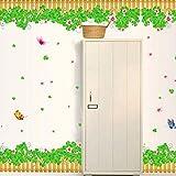 Grüne Pflanze Schmetterling Wandaufkleber für Kinderzimmer Gartenzaun Schlafzimmer Wohnzimmer Wohnkultur Wandkunst Aufkleber 70 * 50Cm