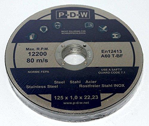 100 INOX Trennscheiben für Trenn-/ oder Winkelschleifer - Ø 125 mm Wellendurchmesser/INOX/Flexscheiben