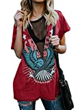 Womens Short Sleeve Graphic Tees Distressed Hawk Print Mesh V Neck Loose Sexy T-Shirt Tops Blouse Wine Red