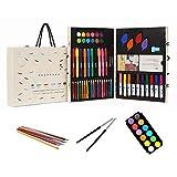 54 tipos de herramientas de dibujo para niños. Incluye lápices de colores. Pastel al óleo. Pluma de acuarela y así sucesivamente. El regalo ideal para los niños