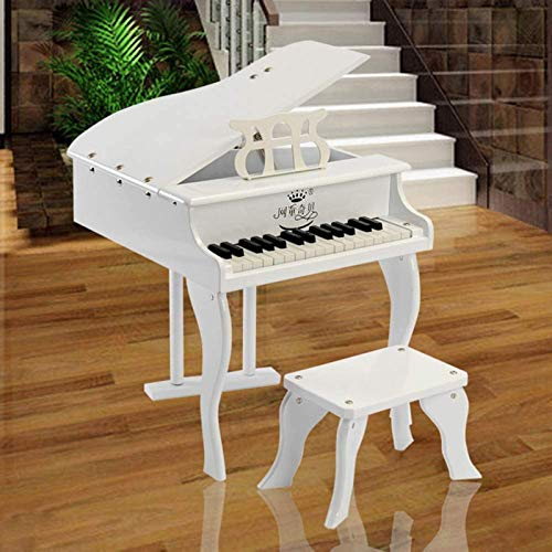 CanKun Kids Toys Children's Wooden Piano, Baby Piano 30-Key Toy Piano Keyboard with Stool Kids' Pianos & Keyboards Kids Toy Grand Piano for Children for 3 Year Old,White