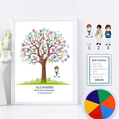 Cuadro de árbol de huellas con niño de comunión. Varios tamaños y colores de marco.Tintas e instrucciones incluidas. BANNER E INVITACIONES A JUEGO SI LO DESEAS