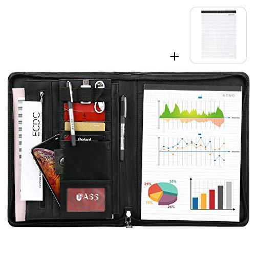 Leathario-Portfolio A4 en cuir véritable porte document pour bureau agenda d'affaires chemise de dossier...