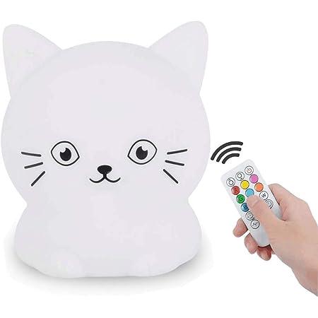 Tekemai Veilleuse pour enfants, lampe de chevet en silicone portable, lumière multicolore avec télécommande, soin des yeux, luminosité et couleur réglables, cadeau de Noël - Chat