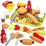 Taille de jouet de plateau: 25.5 * 19cm, fait de plastique de haute qualité Inclure: hamburger, Hotdog, frites, sandwich, biscuits, sauce tomate, boisson, couteau, fourchette, cuillère Démonter les jouets: tous les accessoires pour la nourriture peuv...