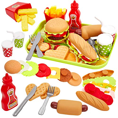 Buyger Cocina Alimentos Comida Juguete Bandeja Hamburguesas y Sándwich Juguete Imitación Juego de rol para 3+ Años Niños