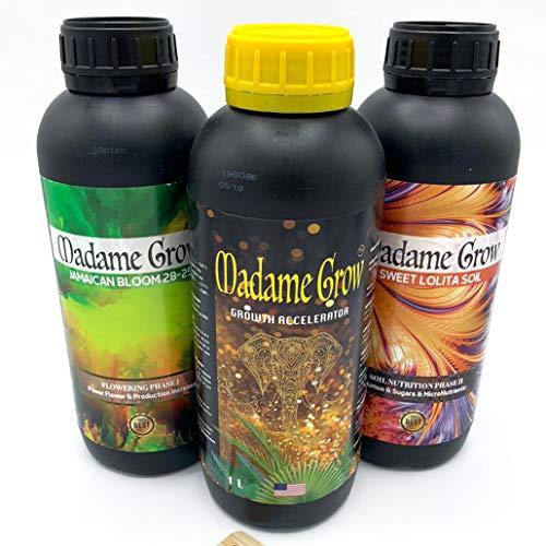 MADAME GROW / Kit Growth Basic/Plantas Fuertes y vigorosas/Cubre el Ciclo Completo de Manera Sencilla/Crecimiento y Floración - Nutrición/Gran Cosecha (3 x 1 L)