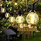 VOKSUN Guirnaldas Luminosas Solar, 25+2 LED 7.6M/24.9FT Guirnalda Luces con 4 Modos IP44 Impermeable Luces Decorativas para Interior y Exterior Jardín Terraza, Patio, Navidad, Fiesta